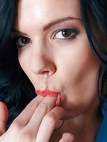 Pale brunette with whorish lipstick shoves a toy up that ass